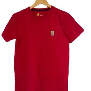 Carhartt Boys Pocket T-Shirt Red Youth Size Large